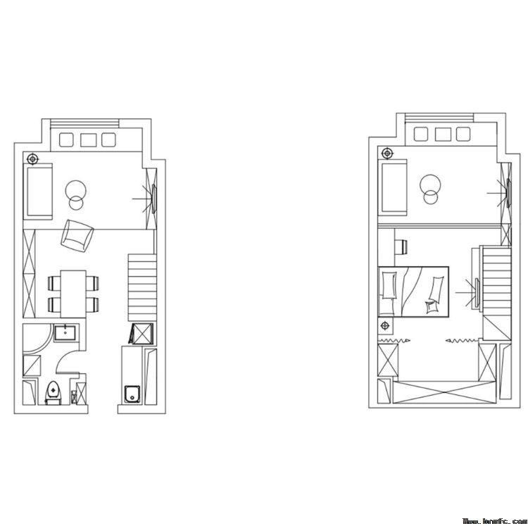 45平米LOFT简约风格效果图